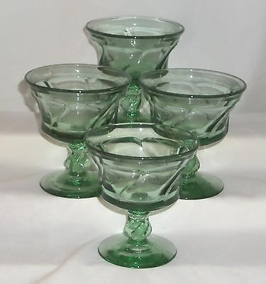 "4 Fostoria JAMESTOWN GREEN *4"" SHERBETS*"