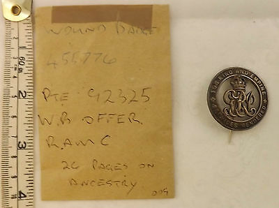 Military WW1 Silver For King Services Rendered Wound Badge Pte W.B.Offer  (2859)