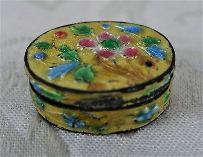 """Antique Chinese Cloisonne Brass Yellow Floral Pill Snuff Box Enamel China 1.25"""""""
