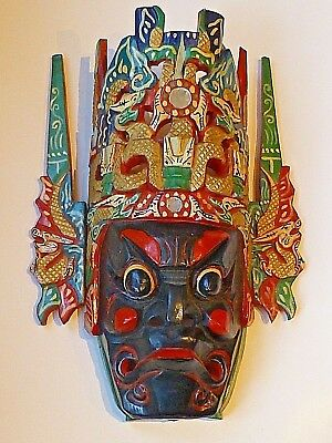 """Chinese Folk Art Wood Hand Carved Painted Nuo Mask - 14"""" x 10"""""""