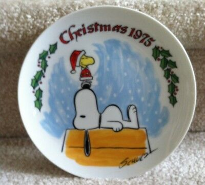 Schmid Peanuts 1975 Snoopy & Woodstock Dog House Christmas Plate! FREE SHIPPING