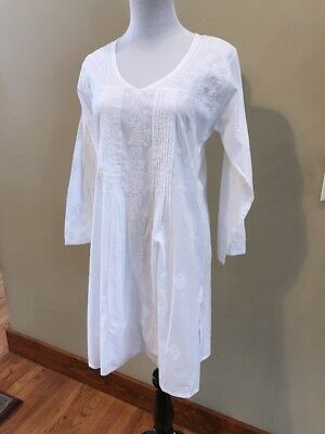 Sevya Handmade Embroidered Womens Long Tunic White 100% Cotton Long Sleeve Sz M