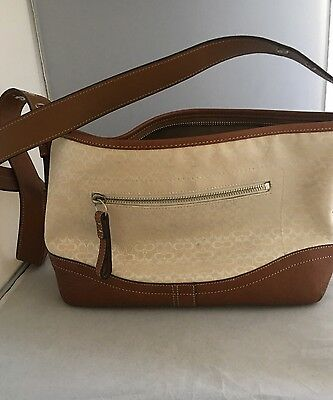 F10945~ Coach Brown Leather  And Cream Canvas Medium Size Shoulder Bag.