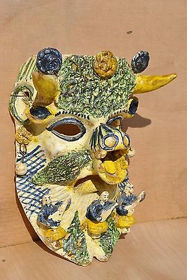 Vintage Ocumicho Mexican Folk Art Pottery Mask LARGE, RARE + EXCEPTIONAL