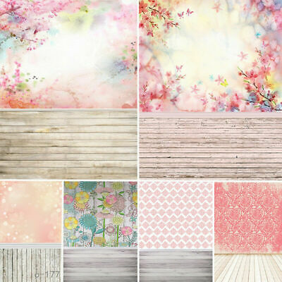 US 5x7ft Retro Pink Flower Photography Backdrops Baby Wedding Party Decors 3x5