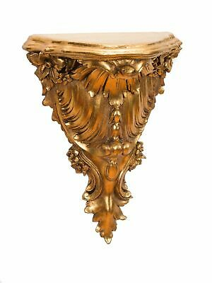 Console wall-mounted shelf golden embellishments antique baroque style