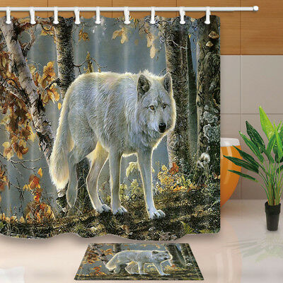 White Wolf In Autumn Woods Polyester Shower Curtain Set Fabric & Hooks 71Inch