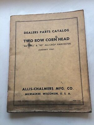 Allis Chalmers Dealers Parts Catalog Two Row Corn Head Dealers Parts Catalog AA