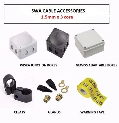 1.5Mm 3 Core Swa Cable Accessories,  Glands,  Cleats, Adapt / Wiska Ip65 Boxes