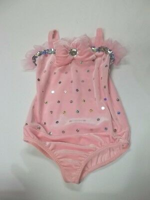 A Wish Come True Pink Velour Sequin Rhinestone Dance Leotard Costume (Sz 5-7)