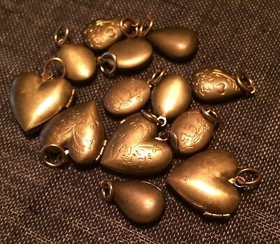 Vintage Brass Lockets Mixed Shapes Lot of 13 Jewelry Findings Locket Pendants