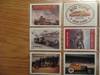 RARE 1991 Big Time Drag Cards Race Car Trading Cards 95 Card Set in Album Pages