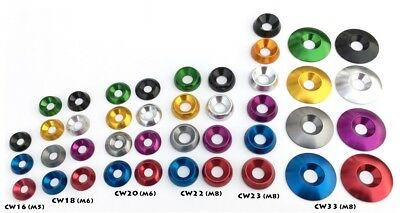 Aluminum Finishing Washers for 8mm & 6mm flat head screws : Anodized. Conical.