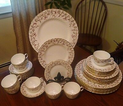 Minton Moorland Fine Bone China Service for 8 England Holiday Brown / Pink EUC