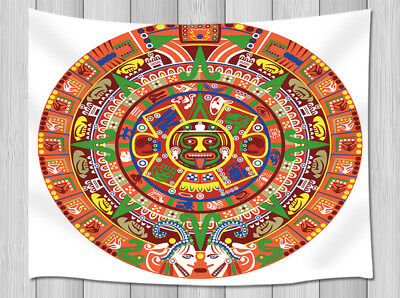 Traditional Mayan Calendar On Old Stone Wall Hanging Tapestry Smooth Supple