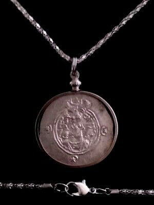 KHUSRU II Large Genuine Ancient Persia Silver Sassanian AR Coin Pendant Necklace