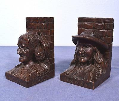 Antique French Breton Carved Bookends in Solid Chestnut by Joseph Jegouzo