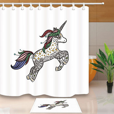 Animal Decor Mythical Unicorn Bathroom Shower Curtain Set Fabric & 12 Hook 71""