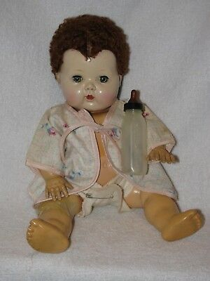 """12"""" Vintage American Character Tiny Tears Baby Doll W/Caracul Wig"""