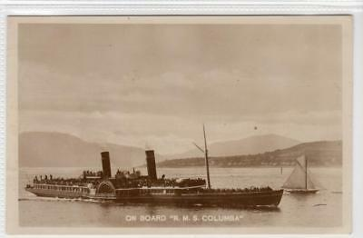 """ON BOARD """"R.M.S. COLUMBA"""": Clyde Paddle Steamer postcard (C31664)"""