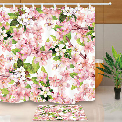 Cherry Apple Pink Flower Polyester Shower Curtain Set Fabric & Hooks 71Inch