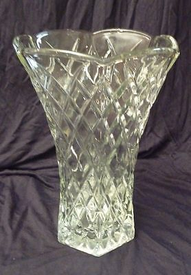 "Vintage EO Brody Co Clear Glass Diamond Pattern 8"" 6 Sided Vase #C925 USAp"