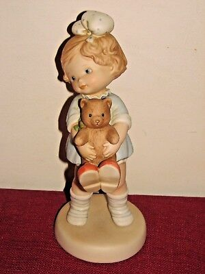 "Enesco Memories of Yesterday Signed Peggy Time for Bed 9"" collectible figurine"