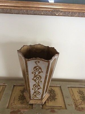 SALE TODAY Vintage FLORENTINE Tole Mid C Gold/White Wood UMBRELLA STAND ITALY