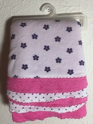 Baby Girl 6PK NEW TERRY WASH CLOTHS Pink Flowers Polka Dots