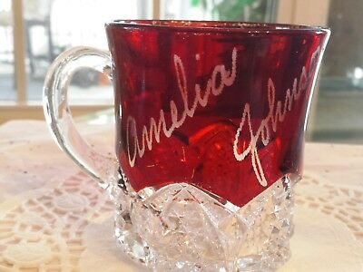 EAPG Antique Glass Ruby Red Flash Etched Crystal Vintage Souvenir Collectors Cup