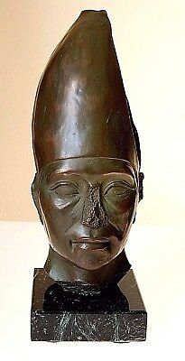 "Artisan's Guild Egyptian  King Amenemhet Iii, 7"" Bust Of Solid Cold Cast Bronze"