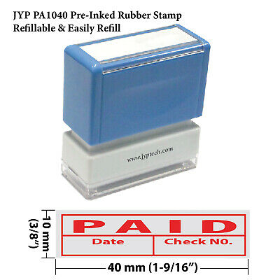 New JYP PA1040 Pre-Inked Rubber Stamp w. Paid, Date & Check No. & Frame