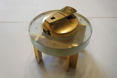 Vintage  Mid Century Ronson THE TABLE Lighter  Atomic Glass & Brass