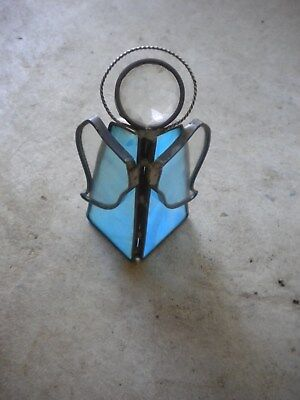 True Vintage Stained Glass Angel Free Standing Sun Catcher Blue Clear Glass