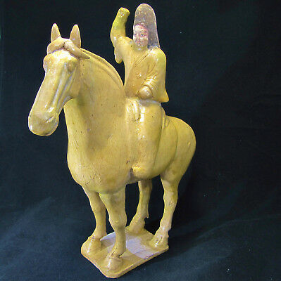"TERRA-COTTA Horse & Warrior (Tang) Dynasty 618-907 A.D. 12.75"" with COA"