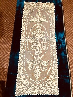 """Vintage Appliqué On Net Long Lace 42"""" Table Runner Dresser Scarf & Round Doily"""