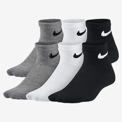 Brand New w/ Tags | Nike Kids' Shoe Size 5-6 Quarter Socks (6 Pair) | BNK0606