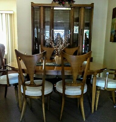 Romweber Mid Century Dining Room Set Table 6 Chairs Bevelled Glass Hutch Tea Std