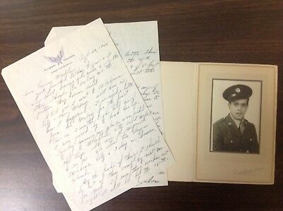 WWII Army Letter & Photo Soldier Camp Edwards Studio Falmouth Massachusetts