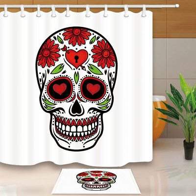 Skull Sugar Flower Bathroom Shower Curtain Set Waterproof Fabric & 12 Hook