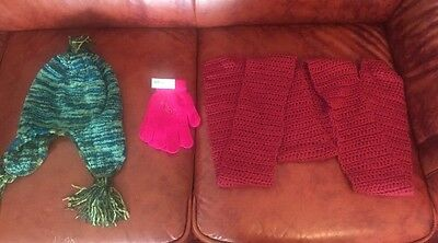 Lot Of 3 Girl's Winter Accessories Hat Gloves & Hand Made Scarf
