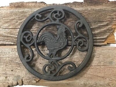 "New Rustic Cast Iron 7 1/2"" diameter round Footed Rooster Trivit (1184-0756)"