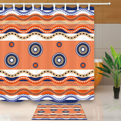 Traditional Geometric Pattern Ornament Bathroom Shower Curtain Set Fabric 71In