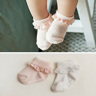 Cotton Baby Socks Princess Girl Sock With Lace Ruffle Trim Ankle Length Kid Sock