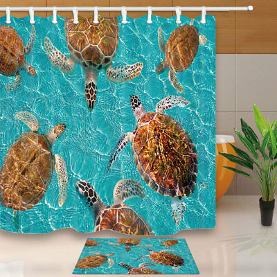 Riviera Maya Turtles In Ocean Bathroom Shower Curtain Set Fabric & 12 Hook 71In