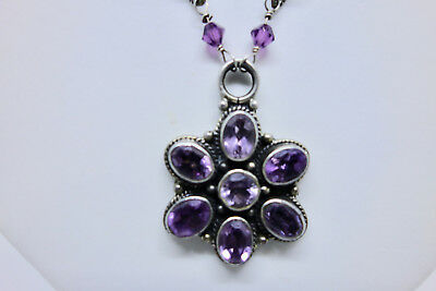 """Vintage Amethyst Multi stone and Pearl Necklace with textured oval links 20"""""""