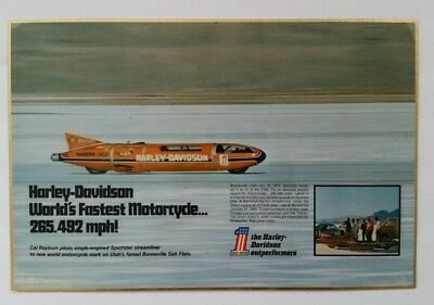Vintage HARLEY-DAVIDSON WORLD'S FASTEST MOTORCYCLE 1970 Advertisement Display