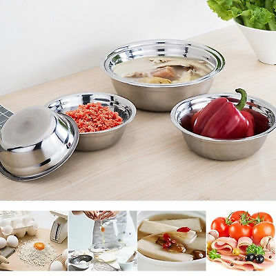 Stainless Steel Kitchen Cooking Serving Mixing Storage Bowls 3 Sizes Pro US Hot