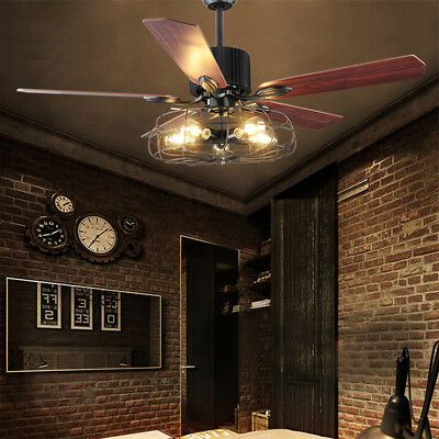 Industrial Big Fan Semi Flush Ceiling Light Lamp Wrought Iron Remote Control 42""