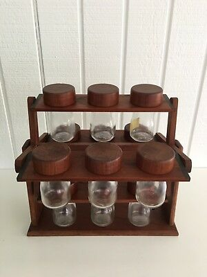 Solid Teak Danish Carousel Spice Rack, 12 Glass Bottles With Lids Wall Mountable